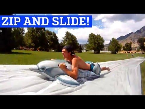 Giant Zip Line To Slip N Slide | People Are Awesome