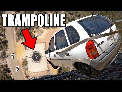 Car vs. World's Strongest Trampoline- Dropped from 150ft (44m)