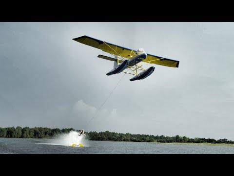 Barefoot Skiing Behind Airplane In 4K