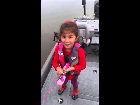 Little Girl Catches Huge 5 Pound Bass On Barbie Pole!