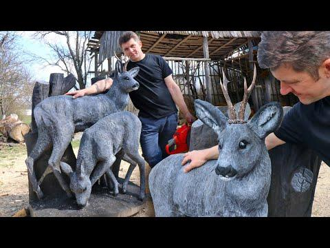AMAZING CHAINSAW wood carving, Life Size DEER #Video