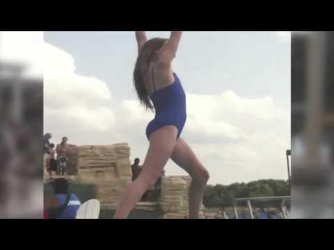 Zipline Girl Flips Into Pool