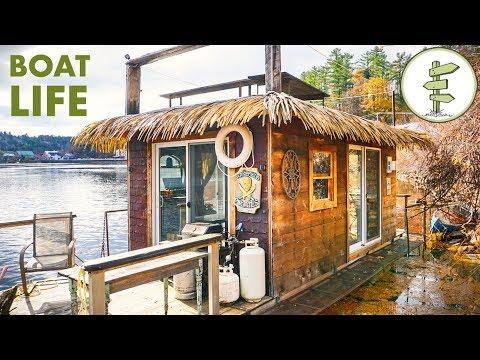 Creative Builder Living on his Awesome Tiny House Boat - Full Tour