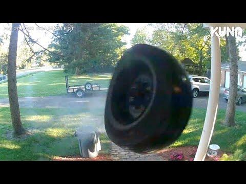Random Tire Hits House At High Speed Video. Your Daily Dose Of Internet.