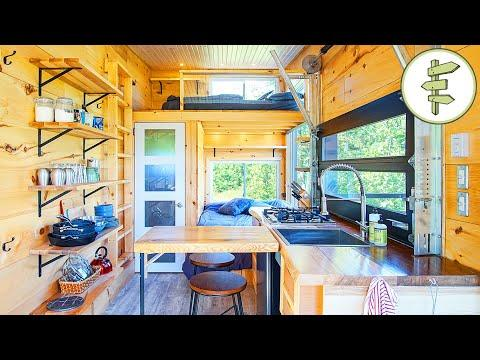 Off-Grid Tiny House with Dual Bed Design & Garage Door Window - Full Tour