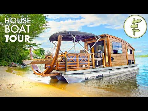 This Incredible TINY HOUSE BOAT is Hand-Built & Off-Grid Ready Video!