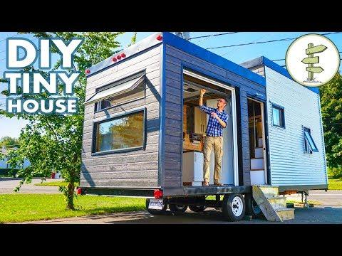 Beautiful DIY Tiny House Build with Massive Custom Patio Door Video - Full Tour