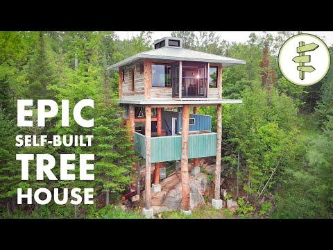 Mind-Blowing Modern Tiny Tree House Video -  Built with Reclaimed Materials - FULL TOUR