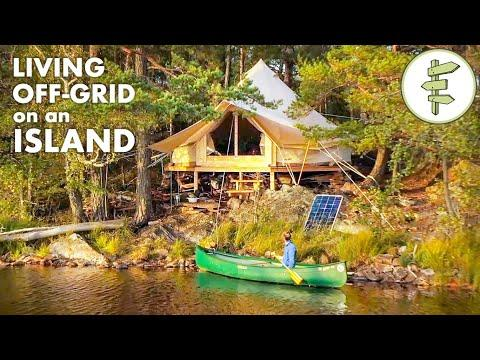 Man Living Off-Grid in a Tent on an Island
