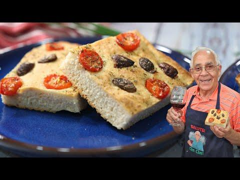 Homemade Focaccia with Olives and Tomatoes Video. OrsaraRecipes