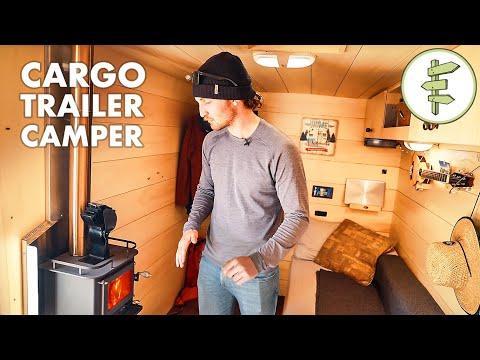 Skier's Cargo Trailer Conversion into Stealth Off-Grid Camper