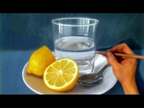 Still Life Drawing Realism - Lemon / Spoon / Glass Of Water