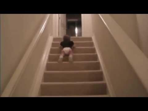 Baby Slides Down Stairs On His Stomach