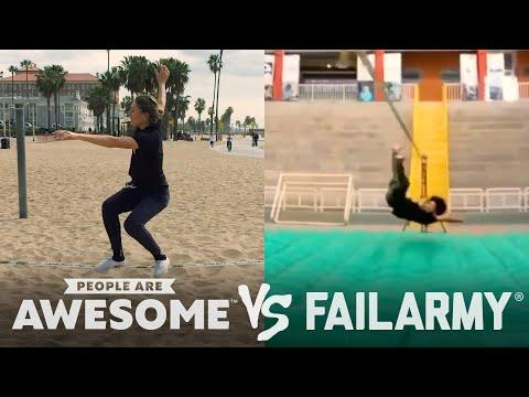Wins & Fails on the Basketball Court, Pogo Stick, Slackline & More Video | People Are Awesome Vs. Fa