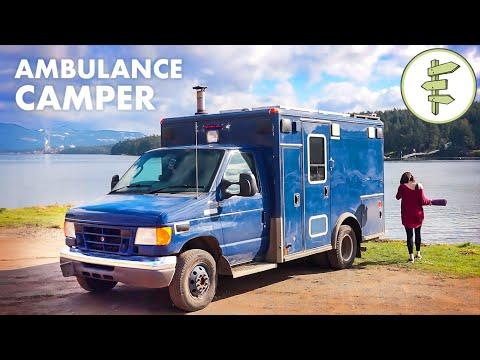 Woman Living in Her Off-Grid Ambulance Camper Conversion Video