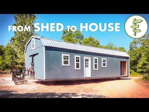 Family of 6 Living in a SHED Converted Into a Tiny Home & Homesteading Video