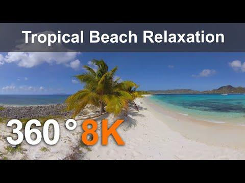 Caribbean Paradise. Tropical Beach Relaxation. 360 video in 8K