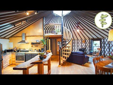 Magical Yurt Video with Spiral Staircase Loft & Exterior Wooden Shell - Full Tour