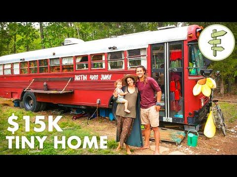 Fantastic School Bus Tiny House Conversion for Family of 3 Video - Full Tour & Interview