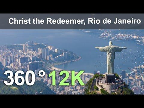 Christ the Redeemer. The Icon of Rio de Janeiro. Brazil. Aerial 360 video in 12K