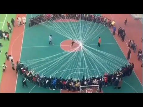 Chinese Students Make Giant Jump Rope. Your Daily Dose Of Internet