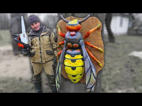 GIANT WOODEN BEE with chainsaw Video, AMAZING chainsaw wood carving