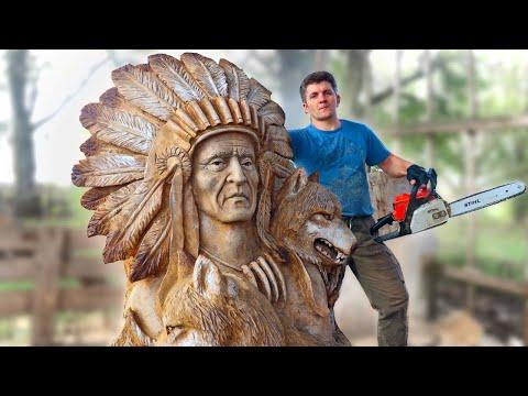 AMAZING CHAINSAW wood carving video, RED INDIAN with wolves (Native American with wolves)