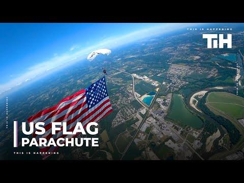 Guys Do Parachuting And Wingsuit Flying With United States Flag Video