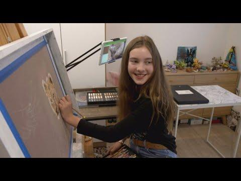 Twelve-year-old girl producing art so realistic people question if she really did it #Video