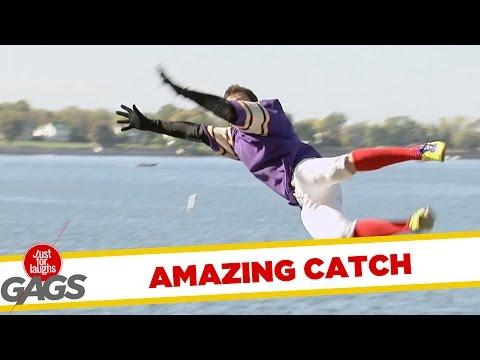 Flying Football Catch Fail