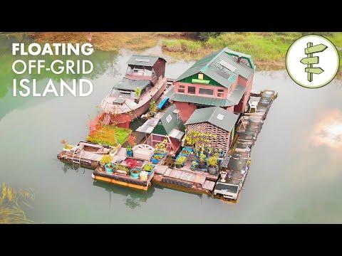17 Years Living Off-Grid on a Self-Built Island Homestead Video - Built with Salvaged Materials