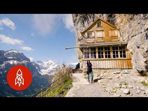 This Swiss Restaurant Is Built Into the Side of a Mountain