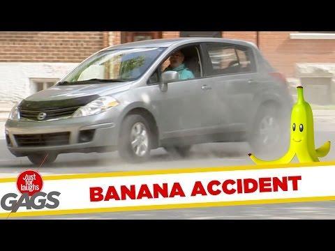 Banana Peel Almost Causes Car Accident Prank