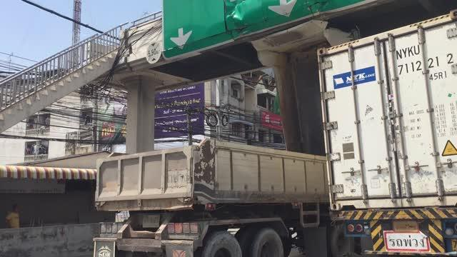 Semi Truck Stuck Under a Bridge