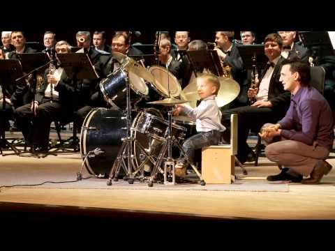 Amazing Little Kid Drums With Symphony Orchestra