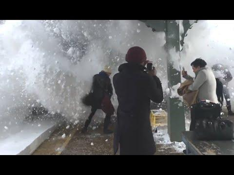 Train Pushes Wave Of Snow At People. Your Daily Dose Of Internet.