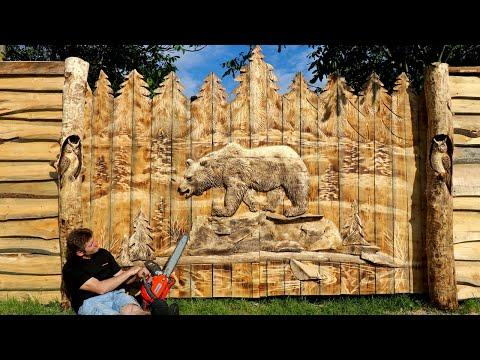 I made wooden GATES with a CHAINSAW. Vlad Carving #Video