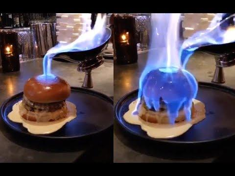 Pouring Fire On A Burger. Your Daily Dose Of Internet