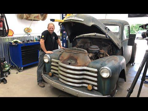 Will It Run? 1950 Chevy pickup pulled from the forest | Redline Update LIVE