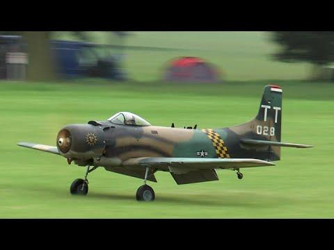 RC Scale Airplanes - Warbirds Flying In The Rain At Weston Park