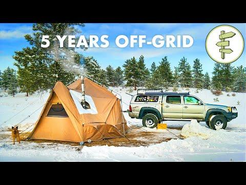 EXTREME Off-Grid Video.  Living in a 4 Season Tent & Tiny Truck Camper