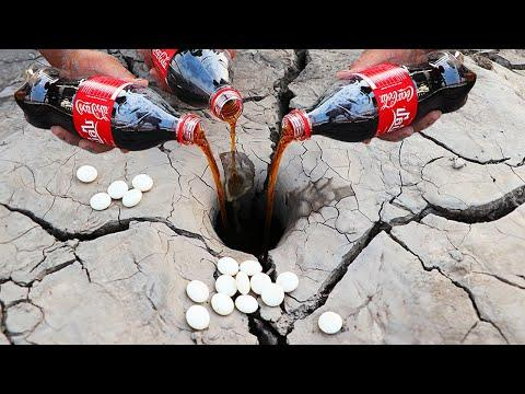 Dry Season Fishing Catch Fishes From Underground Hole Video With Mini Coca Cola Vs Mentos | Experime