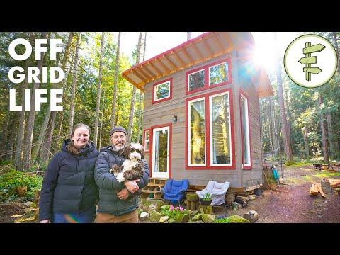 Couple Living Off-Grid on an Island in an Ultra Tiny Cabin #Video