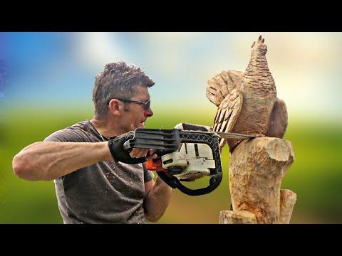 Wooden birds, fastest skill wood carving with CHAINSAW Video