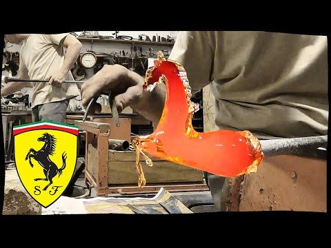 What an artist ! A Murano glass blower makes me the Ferrari logo
