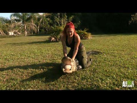 100 Pound Woman Hauls In 300 Pound Alligator!