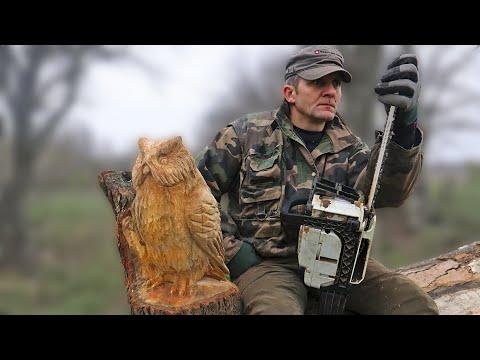 Wooden OWL in 1 HOUR, chainsaw wood carving Video - Vlad Carving