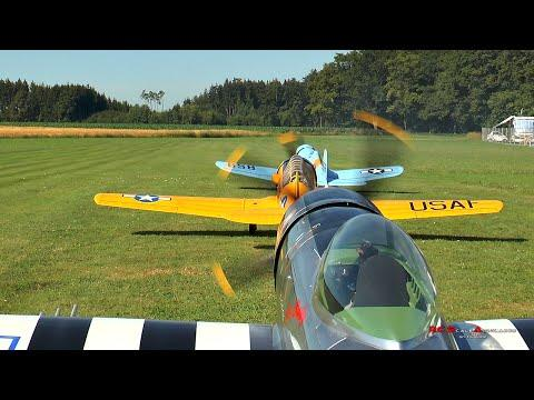 RC Scale Airplanes - Giant F4U Corsair, AT6 And P-47 Flying Together