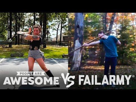Giant Jenga, Mountain Biking, Staff Spinning Wins VS Fails & More Video! | People Are Awesome VS Fai