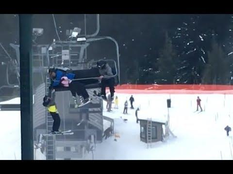 Dad Catches Son Falling From Ski Lift - Your Daily Dose Of Internet